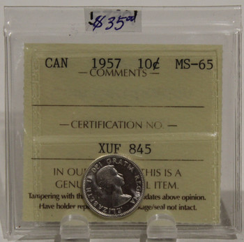 1957 CIRCULATION 10 CENT COIN - MS65