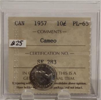 1957 CIRCULATION 10 CENT COIN - CAMEO - PL65