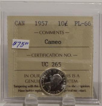 1957 CIRCULATION 10 CENT COIN - CAMEO - PL66
