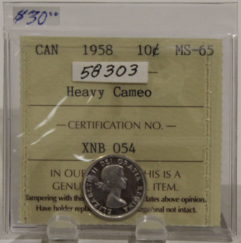 1958 CIRCULATION 10 CENT COIN - HEAVY CAMEO - MS65