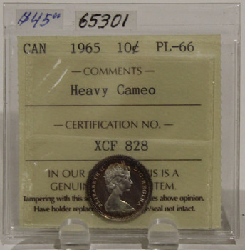 1965 CIRCULATION 10 CENT COIN - HEAVY CAMEO - PL66