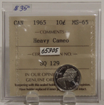 1965 CIRCULATION 10 CENT COIN - HEAVY CAMEO - MS65