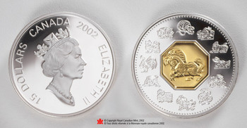 SALE - 2002 $15 LUNAR SILVER & GOLD COIN - YEAR OF THE HORSE