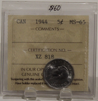 1944 CIRCULATION 5 CENT COIN - MS65