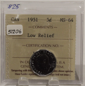 1951 CIRCULATION 5 CENT COIN - LOW RELIEF - MS64
