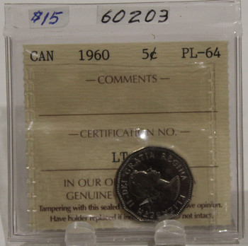 1960 CIRCULATION 5 CENT COIN - PL64
