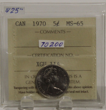 1970 CIRCULATION 5 CENT COIN - MS65