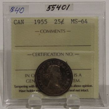 1955 CIRCULATION 25 CENT COIN - MS64