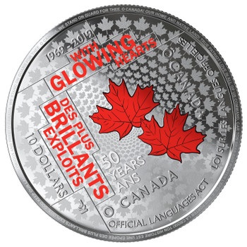 SALE - 2019 $10 FINE SILVER COIN 50TH ANNIVERSARY OF THE OFFICIAL LANGUAGES ACT