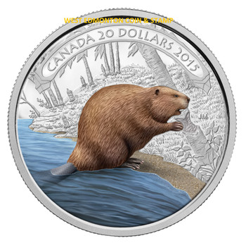 SALE - 2015 $20 FINE SILVER COIN BEAVER AT WORK
