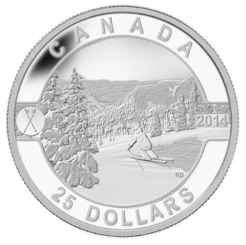 SALE - 2014 $25 FINE SILVER COIN O CANADA - SCENIC SKIING IN CANADA
