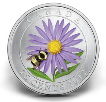 SALE - 2012 25-CENT COLOURED COIN - ASTER AND BUMBLE BEE