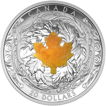 SALE - 2016 $20 FINE SILVER COIN - MAJESTIC MAPLE LEAVES WITH DRUSY STONE