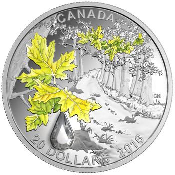 SALE - 2016 $20 FINE SILVER COIN JEWEL OF THE RAIN: BIGLEAF MAPLE