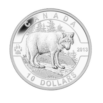 SALE - 2013 $10 FINE SILVER COIN O CANADA SERIES - THE WOLF