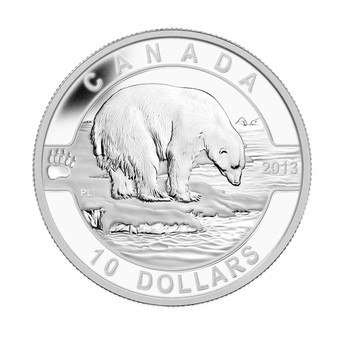 SALE - 2013 $10 FINE SILVER COIN O CANADA SERIES - THE POLAR BEAR