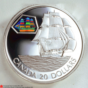 SALE - 2001 $20 STERLING SILVER COIN - MARCO POLO - CANADA TRANSPORTATION ON SEA