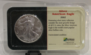 2002 US EAGLE 1oz. SILVER COIN WITH INFO PACKAGE