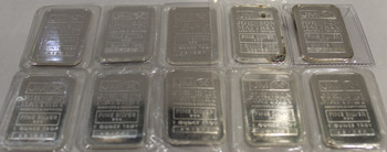10 - 1oz. J&M SILVER BARS