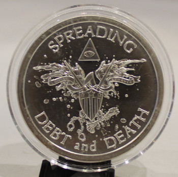 2oz. SILVER SHIELD ROUND - SPREADING DEBT & DEATH