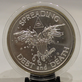 2oz. SILVER SHIELD ROUND SPREADING DEBT & DEATH (BU)