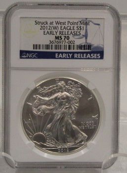 2012 1oz. SILVER EAGLE - NGC MS-70 - EARLY RELEASE WEST POINT MINT
