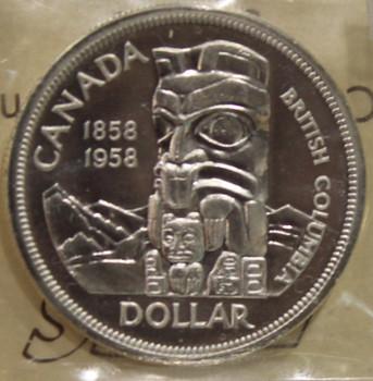 1958 CIRCULATION $1 COIN - HEAVY CAMEO - PL-65