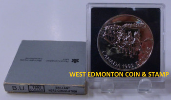 1992 BRILLIANT UNCIRCULATED SILVER DOLLAR - 175TH ANNIVERSARY OF THE FIRST STAGE COACH
