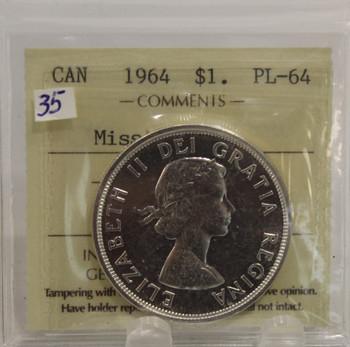 1964 CIRCULATION $1 COIN - MISSING DOT - PL64