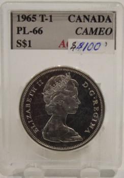 1965 TYPE 1 CIRCULATION $1 COIN - CAMEO - PL66