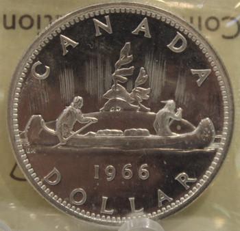 1966 CIRCULATION $1 COIN - LG BDS, CAMEO - PL66