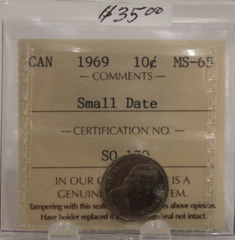 1969 CIRCULATION $10-CENT- SMALL DATE - MS65
