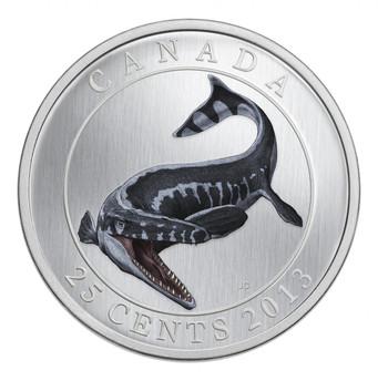 2013 25-CENT COLOURED COIN - PREHISTORIC ANIMALS - TYLOSAURUS PEMBINENSIS