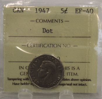 1947 DOT CIRCULATION 5-CENT COIN - EF-40