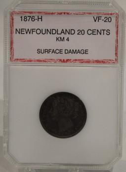 1876 H NEWFOUNDLAND 20-CENT COIN - VF-20