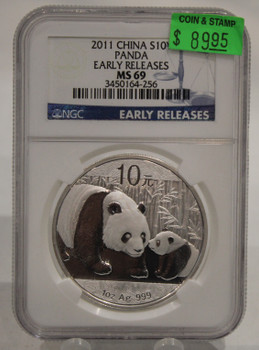 2011 CHINESE PANDA 1oz. SILVER COIN MS-69