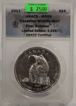 2011 CANADIAN WOLF 1oz. SILVER COIN MS69