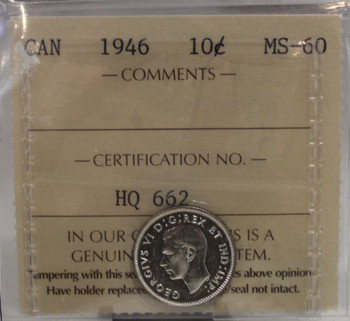 1946 CIRCULATION 10 CENT COIN - MS60