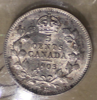 1903H CIRCULATION 5-CENT COIN - SMALL H - VF20