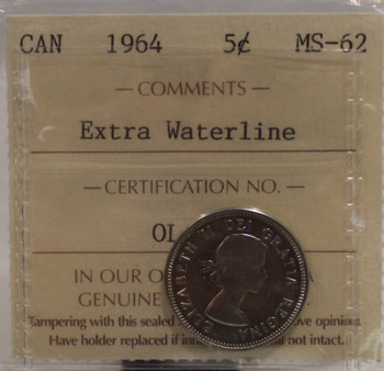 1964 CIRCULATION 5 CENT COIN - EXTRA WATERLINE - MS62