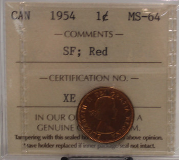 1954 CIRCULATION 1 CENT COIN - SF, RED - MS64