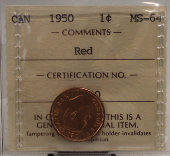 1950 CIRCULATION 1 CENT COIN - RED - MS64