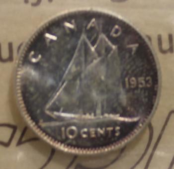 1953 CIRCULATION 10-CENT COIN - NSF, CAMEO - MS64