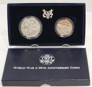 1995 WORLD WAR II 50TH ANNIVERSARY TWO-COIN UNCIRCULATED SET