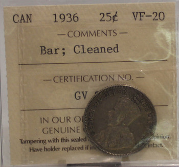 1936 BAR CIRCULATION 25-CENT COIN - CLEANED - VF20