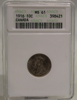 1916 CIRCULATION 10-CENT COIN - MS61