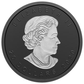 2020 $20 FINE SILVER COIN RHODIUM-PLATED INCUSE 1OZ SML