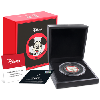 Disney Mickey Mouse Club Ultra High Relief 2oz Silver Coin
