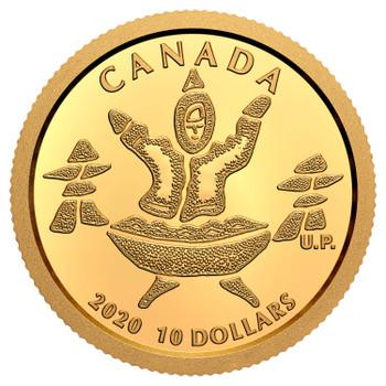 2020 $10 PURE GOLD COIN AN INUK AND A QULLIQ