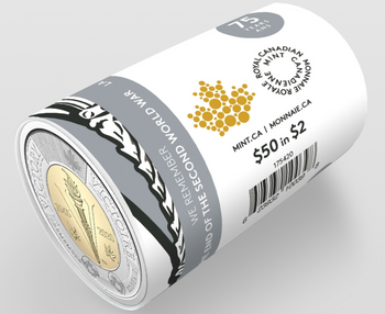 2020 $2 SPECIAL WRAP ROLL 75TH ANNIVERSARY OF THE END OF THE SECOND WORLD WAR UNCOLOURED)